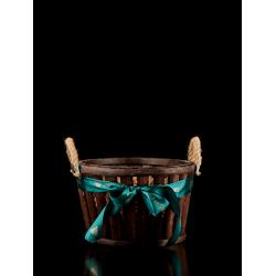 Στρογγυλό ξύλινο καλάθι - Σκούρο καφέ