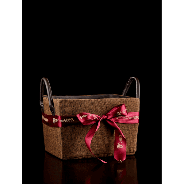 Small basket with leather