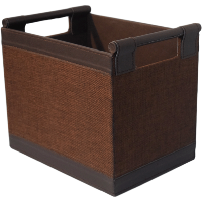 Brown leather rectangular basket