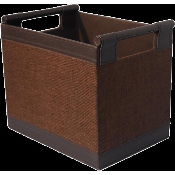 Brown leather rectangular basket