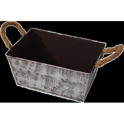 Metal basket in brown color