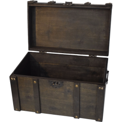 Brown chest with buckles